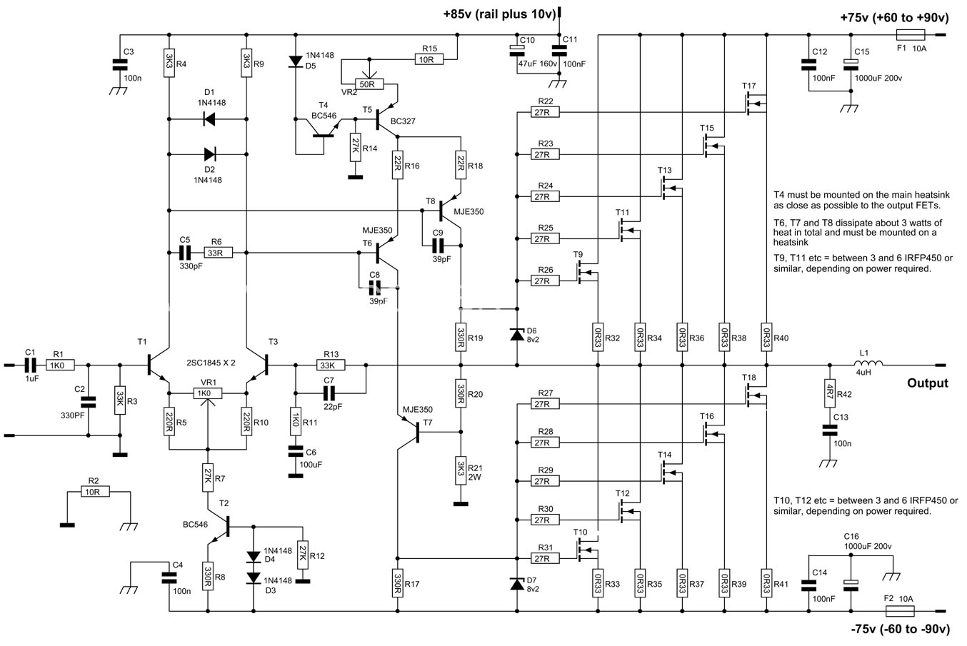 lificador De 700 Watts Rms Mono Utilizando Transistores Mosfet on audio amplifier circuit