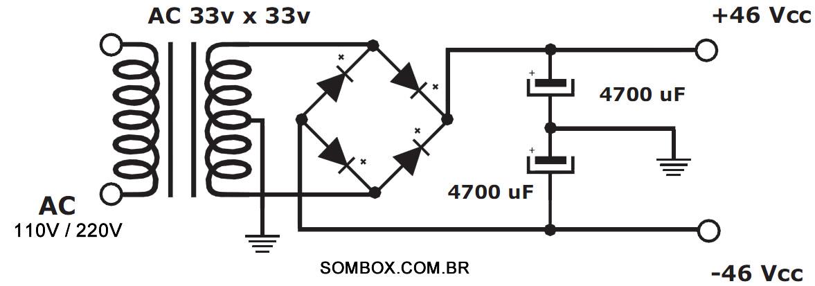 modulo de um amplificador de 100 watts rms para uso com