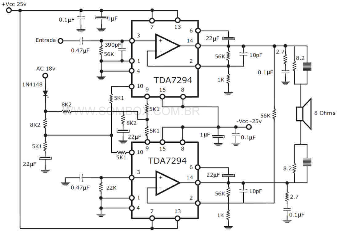 500w Stereo Amplifier Circuit Diagram