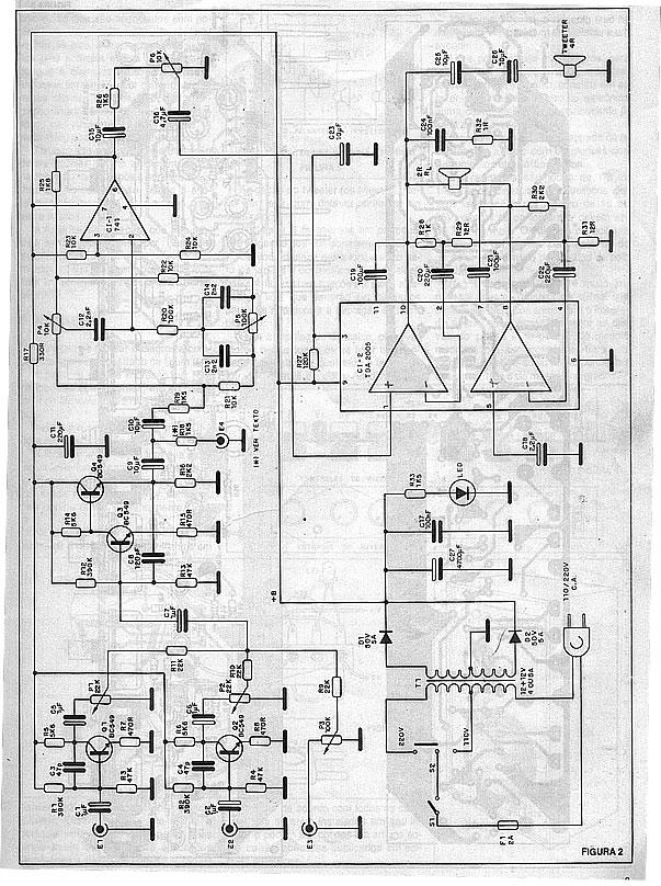 Esquema de circuito da caixa amplificada para guitarra e violão