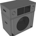Projeto de caixa para graves médios com alto-falante de 15 pol. 400 watts e dois drivers.