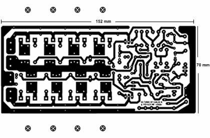 Circuito impresso do amplificador