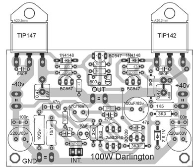Um Simples  lificador De 100 Watts   Transistores Darlington on wiring diagram for stereo