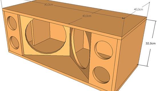 Projeto de caixa de MEDIOS GRAVES dutada com 2 alto-falantes de 12 pol. 400 watts.
