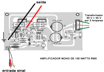 click na imagem para ampliar --- DIAGRAMA DE LIGAÇÕES DO MODULO AMPLIFICADOR.