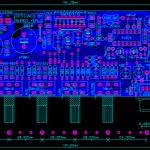 Amplificador estereo de 2 x 30 watts RMS com pré-amplificador e fonte na mesma placa.