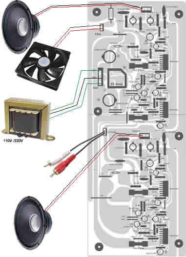 click na imagem para ampliar -- DIAGRAMA DE LIGAÇÕES DO AMPLIFICADOR.