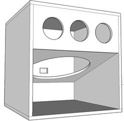 Caixa Manifold com 1 alto falante 15′ e 3 dutos de ar.