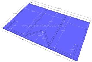Projeto de uma line array para médios graves com resposta de 55 Hz a 20 kHz, construída em MDF ou compensado de 15 mm, projeto facil de construir, para