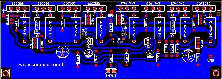 Circuito Simples : Amplificador de watts rms com os sc sombox