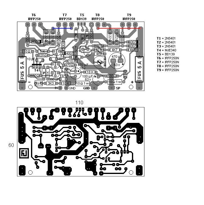 amplificador mosfet de 200w com irfp250n